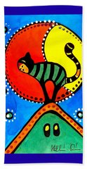 The Cat And The Moon - Cat Art By Dora Hathazi Mendes Beach Sheet