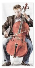Beach Towel featuring the photograph The Cello Player In Sketch by David and Carol Kelly