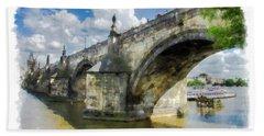 The Charles Bridge - Prague Beach Towel by Tom Cameron