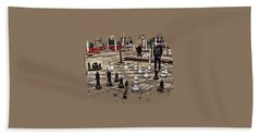 The Chess Match In Portland Beach Towel