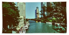 Beach Towel featuring the photograph The Chicago River by Gary Wonning
