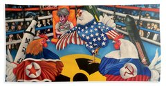 The Chickens Fight Beach Towel
