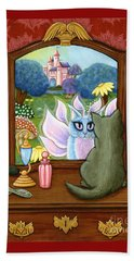 Beach Towel featuring the painting The Chimera Vanity - Fantasy World by Carrie Hawks