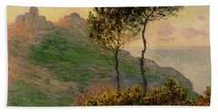 The Church At Varengeville Against The Sunlight Beach Towel by Claude Monet