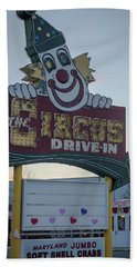 Beach Towel featuring the photograph The Circus Drive In Sign Wall Township Nj by Terry DeLuco
