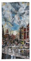The City Touched By The Sunset Beach Towel