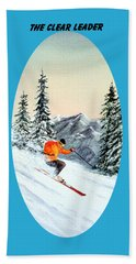 Beach Sheet featuring the painting The Clear Leader Skiing by Bill Holkham