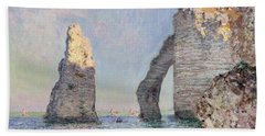 The Cliffs At Etretat Beach Towel by Claude Monet