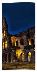The Coleseum In Rome At Night Beach Sheet