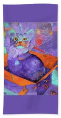 Beach Towel featuring the painting The Color Purrrple by Nancy Jolley