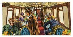 The Comfort Of The Pullman Coach Of A Victorian Passenger Train Beach Towel