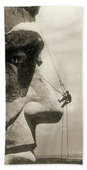 The Construction Of The Mount Rushmore National Memorial, Detail Of Abraham Lincoln,1928  Beach Towel