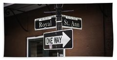 The Corner Of Royal And St. Ann, New Orleans, Louisiana Beach Towel