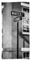 The Corner Of Winter And Spring Bw Beach Towel