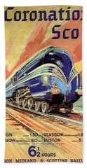The Coronation Scot - Vintage Blue Locomotive Train - Vintage Travel Advertising Poster Beach Towel