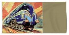 The Coronation Scot - Vintage Blue Locomotive Train - Vintage Travel Advertising Poster Beach Towel