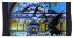 The Courtyard Of The Blue Mosque At Dusk Beach Towel by Anna Duyunova