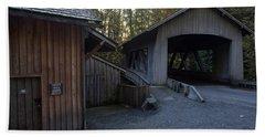 The Covered Bridge At Cedar Creeks Grist Mill Beach Towel