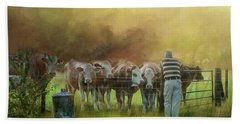 Beach Sheet featuring the photograph The Cow Whisperer by Wallaroo Images