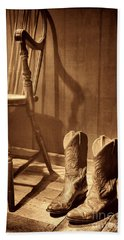 The Cowgirl Boots And The Old Chair Beach Sheet by American West Legend By Olivier Le Queinec