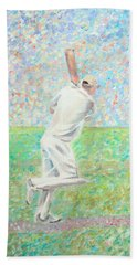 Beach Sheet featuring the painting The Cricketer by Elizabeth Lock