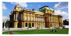 The Croatian National Theater In Zagreb, Croatia Beach Towel by Jasna Dragun