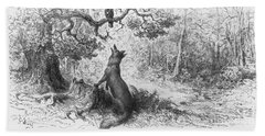 The Crow And The Fox Beach Towel by Gustave Dore