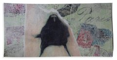 The Crow Called The Raven Black Beach Towel by Kim Nelson