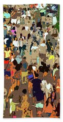 Beach Sheet featuring the painting The Crowd by David Lee Thompson