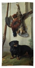 The Dachshound Pehr With Dead Game And Rifle Beach Towel