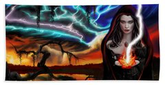 Beach Towel featuring the painting The Dark Caster Calls The Storm by James Christopher Hill