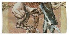 The Death Of Medusa I Beach Sheet by Edward Coley Burne-Jones