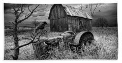 Beach Towel featuring the photograph The Decline And Death Of The Small Farm In Black And White by Randall Nyhof