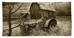 Beach Towel featuring the photograph The Decline And Death Of The Small Farm In Sepia Tone by Randall Nyhof