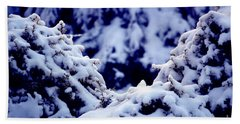 Beach Towel featuring the photograph The Deep Blue - Winter Wonderland In Switzerland by Susanne Van Hulst