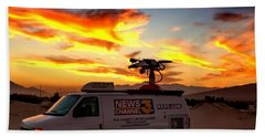 Beach Towel featuring the photograph The Deserts News Leader by Chris Tarpening