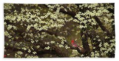 Beach Towel featuring the digital art The Dogwoods And The Cardinal by Darren Fisher