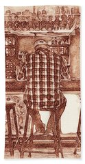Beach Towel featuring the drawing The Drinker by Joseph J Stevens