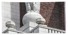 Beach Towel featuring the photograph The Eagle On The United States Custom House Philadelphia Pennsyl by Bill Cannon