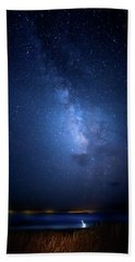 Beach Towel featuring the photograph The Egret And The Milky Way by Mark Andrew Thomas