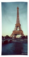 Beach Towel featuring the photograph The Eifeltower by Hannes Cmarits