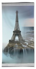 The Eiffel Tower In Montage Beach Towel