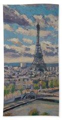 The Eiffel Tower Paris Beach Towel by Nop Briex