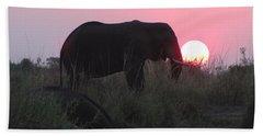 The Elephant And The Sun Beach Towel