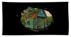 Beach Towel featuring the photograph The Enchanted Garden Shed by Thom Zehrfeld