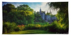 The Enchanted Land - Central Park In Summer Beach Sheet by Miriam Danar