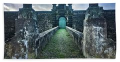 The Entrance To Fortress Of Sao Joao Baptista On Monte Brasil Beach Sheet