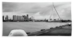 Beach Towel featuring the photograph The Erasmus Bridge In Rotterdam Bw by RicardMN Photography