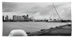 Beach Sheet featuring the photograph The Erasmus Bridge In Rotterdam Bw by RicardMN Photography