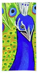 Beach Towel featuring the painting The Face Of A Peacock by Margaret Harmon